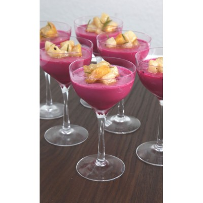 Beetroot panna cotta with caramelized pears