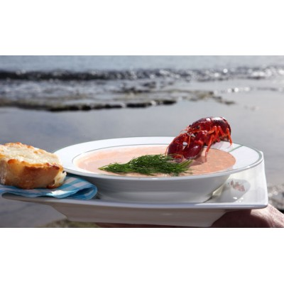 Crayfish soup with bruschetta