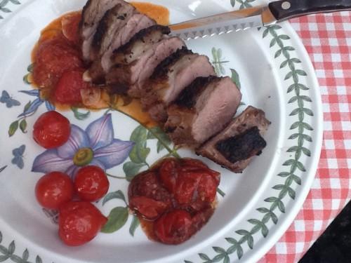 grillad lammfile med variation på tomater